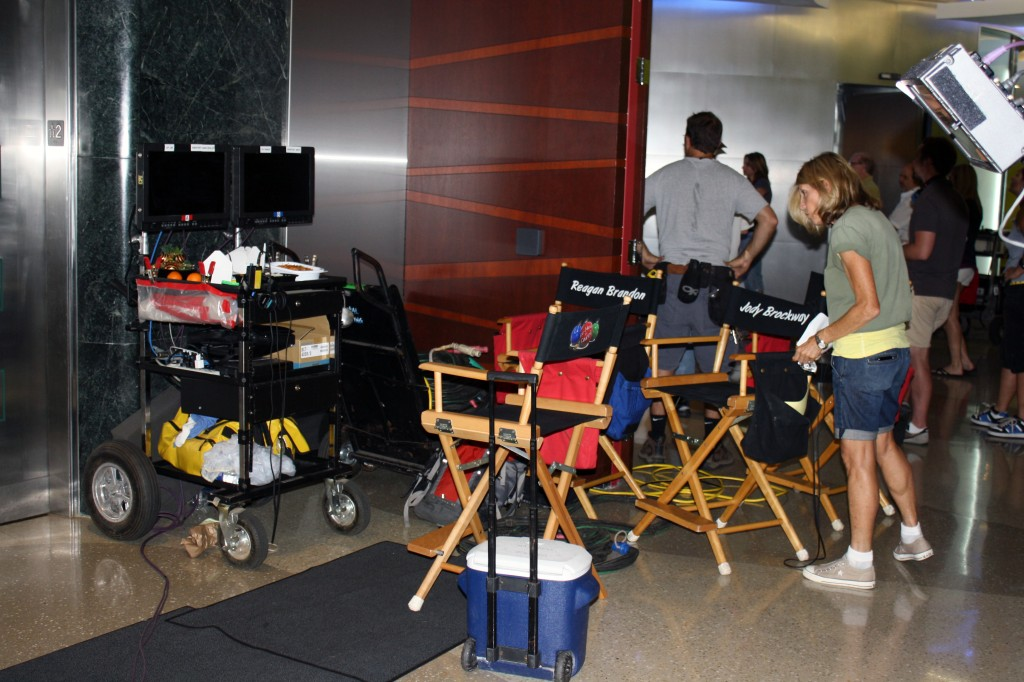 Producers set up shop near the elevators on the second floor at SCAD Atlanta.